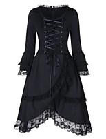 cheap -Women's A-Line Dress Short Mini Dress - Long Sleeve Solid Color Lace Bow Split Fall Vintage Flare Cuff Sleeve Slim 2020 Black S M L XL XXL 3XL 4XL 5XL