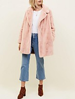 cheap -Women's Fall & Winter Open Front Coat Long Solid Colored Daily Basic Oversized Faux Fur Blushing Pink S M L XL / Loose