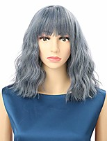 """cheap -mix blue short wavy wigs bob wigs with air bangs shoulder length for women short wig curly wavy synthetic cosplay wig pastel bob wig for girl colorful costume wigs,12"""" mix blue."""