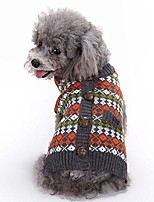 cheap -british style pet sweater, cat dog puppy plaid knitted clothing knitwear outerwear soft warm winter clothes (s)