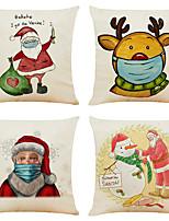 cheap -Cartoon Mask Christmas Linen Cushion Covers Home Office Sofa Square Pillow Case Decorative Pillow Covers Without Insert (18*18Inch)
