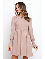 cheap -Women's Sheath Dress Short Mini Dress - Long Sleeve Plaid Patchwork Fall Casual 2020 Black Khaki S M L XL