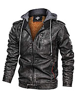 cheap -men's stand collar warm pu faux leather zip-up motorcycle jacket with a removable hood gray 3xl