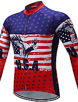 cheap -21Grams Men's Long Sleeve Cycling Jacket Winter Red National Flag Bike Jacket Mountain Bike MTB Road Bike Cycling Breathable Warm Sports Clothing Apparel / Stretchy