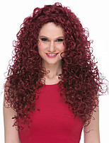 cheap -Synthetic Wig Curly Asymmetrical Wig Very Long Wine Red Pink Blue Red Synthetic Hair Women's Fashionable Design Exquisite Fluffy Blue Burgundy