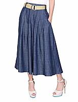 cheap -women's blue denim midi skirt (with a belt) (m waist:26 inch)