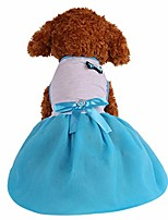 cheap -summer and spring small dog girl apparel, pet cats puppy princess harness dress clothes bownet tutu skirt sundress big sister xs s m l