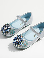 cheap -Girls' Flats Comfort / Flower Girl Shoes / Princess Shoes Patent Leather / PU Little Kids(4-7ys) Walking Shoes Bowknot / Pearl Blue Spring / Fall / Party & Evening