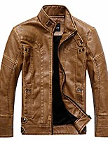 cheap -men's lightweight faux leather jacket, vintage motorcycle stand collar outwear, brown