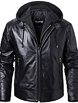cheap -men's lambskin leather motorcycle jacket with removable hood (black, medium)