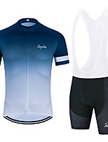 cheap -WECYCLE Men's Women's Short Sleeve Cycling Jersey with Bib Shorts Cycling Jersey with Shorts Polyester White Black Grey Gradient Bike Clothing Suit Breathable 3D Pad Quick Dry Reflective Strips