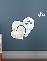 cheap -Double Love Heart Shape Mirror Self-adhesive Stickers Crystal Wall Paper DIY 3D Home Wall Decal DecorationQ501