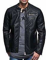 cheap -hattfart men leather jacket men - natural distressed marble faux leather moto jacket for men (xxl, black)