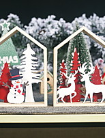 cheap -Christmas Decorations Wooden Three-dimensional Painted Christmas Tree Snowman Ornaments Elk Cabin Table Setting