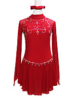 cheap -Figure Skating Dress Women's Girls' Ice Skating Dress Red Asymmetric Hem Spandex High Elasticity Training Competition Skating Wear Handmade Solid Color Patchwork Crystal / Rhinestone Long Sleeve Ice