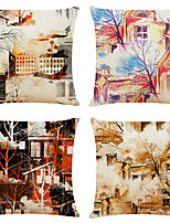 cheap -Set of 4 Abstract Architecture Linen Square Decorative Throw Pillow Cases Sofa Cushion Covers 18x18