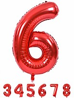 cheap -40 inch red large numbers balloons 0-9, number 6 digit 6 helium balloons, foil mylar big number balloons for birthday party anniversary supplies decorations