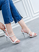 cheap -Women's Sandals Stiletto Heel Open Toe Classic Sexy Preppy Daily Outdoor Faux Leather Solid Colored Almond White Black