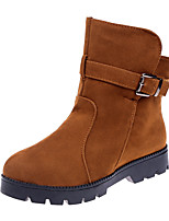 cheap -Women's Boots Snow Boots Flat Heel Round Toe Booties Ankle Boots Casual Daily Walking Shoes PU Button Solid Colored Black Brown / Booties / Ankle Boots / Booties / Ankle Boots