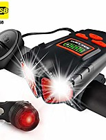 cheap -usb rechargeable bike light - 800 lumens headlight & tail light set-bike bell- waterproof- fits all bicycles, hybrid, road, mtb (base)