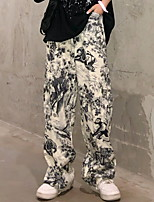 cheap -Women's Sporty Outdoor Loose Daily Wide Leg Pants Pants Print Full Length High Waist Beige