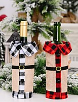 cheap -2pcs Christmas Decorations Linen Bells Lapel Wine Bottle Cover Black And White Lattice Wine Cover Red Wine Cover