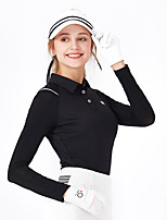 cheap -Women's Golf Polo Shirts Long Sleeve Breathable Quick Dry Soft Sports Outdoor Autumn / Fall Spring Winter Cotton Solid Color Black / Stretchy