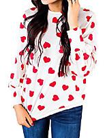 cheap -women heart print blouses tops long sleeve t-shirt red