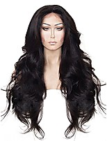 cheap -anogol hair cap+24'' long natural wavy black synthetic lace front wig hair wigs