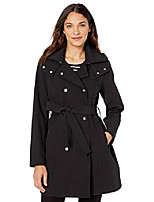 cheap -women's stretchable rain-resistant trench coat with removable hood, black, x-large