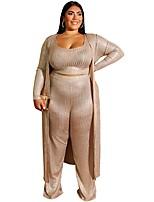 cheap -Women's Basic Solid Color Two Piece Set Deep U Tank Loungewear Tops / Slim