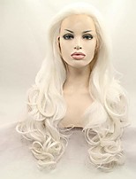 cheap -xiweiya platinum blonde wavy lace front wig long natural wave white synthetic lace front wig silver blonde wig heat resistant fiber wig for woman 24inch (blonde)