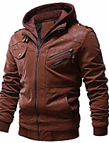 cheap -men's vintage motorcycle faux leather jacket outwear winter jackets with removable hood