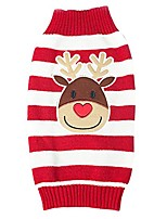 cheap -pet puppy dog christmas knitted reindeer stripes winter warm sweater coat red