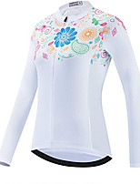 cheap -21Grams Women's Long Sleeve Cycling Jacket Winter White Floral Botanical Bike Jersey Top Mountain Bike MTB Road Bike Cycling UV Resistant Breathable Quick Dry Sports Clothing Apparel / Stretchy