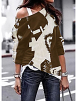 cheap -Women's Going out T-shirt Graphic Prints Long Sleeve Patchwork Print One Shoulder Tops Loose Basic Basic Top Black Brown