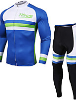 cheap -21Grams Men's Long Sleeve Cycling Jacket Cycling Tights Winter Fleece Blue Novelty Bike Fleece Lining Breathable Sports Novelty Mountain Bike MTB Road Bike Cycling Clothing Apparel / Stretchy