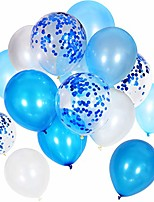 cheap -90 pieces 12 inch white blue balloons blue confetti balloons for birthday wedding holiday party supplies (white blue)