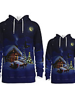 cheap -Daddy and Me Active Santa Claus Graphic 3D Print Animal Print Long Sleeve Regular Hoodie & Sweatshirt Blue