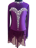 cheap -Figure Skating Dress Women's Girls' Ice Skating Dress Purple Spandex High Elasticity Training Competition Skating Wear Handmade Patchwork Crystal / Rhinestone Long Sleeve Ice Skating Winter Sports