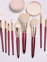 cheap -10 Pcs Makeup Brush Set Red Paint Wooden Handle Beauty Tools Large Loose Powder Eye Shadow Brush Makeup Brush