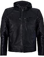 cheap -men's black vintage retro casual zipped 100% leather hooded bomber biker jacket m
