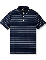 cheap -Men's Golf Polo Shirts Short Sleeve Autumn / Fall Spring Summer UV Sun Protection Breathable Quick Dry Cotton Stripes Dark Navy / Stretchy