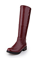 cheap -Women's Boots Riding Boots Block Heel Round Toe Knee High Boots Casual Basic Daily Walking Shoes PU Solid Colored Black / Red White Black