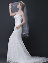 cheap -one-tier flower style / basic wedding veil fingertip veils with faux pearl / petal / beading 59.06 in (150cm) tulle