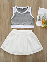 cheap -Toddler Girls' Basic Color Block Solid Colored Lace Short Sleeve Regular Short Clothing Set Gray