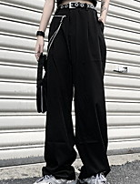 cheap -Women's Sporty Outdoor Loose Daily Pants Chinos Pants Solid Colored Full Length High Waist Black