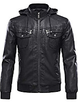 cheap -men's pu leather jacket with removable fur hood (x-small, black)