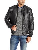 cheap -signature men's zip front faux leather varsity jacket, black, large