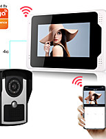 cheap -2.0MP Tuya App Wired/Wifi Doorbell 1080P HD Camera 7 inch Monitor Smart Home Video Intercom Doorbell PIR Motion Detection Security CCTV